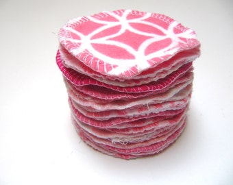Reusable Facial Rounds, 40, 50 or 60 PINK Mix Cosmetic Rounds, Makeup Remover Pads, Eco-Friendly Face Scrubbies, Add on Wash Bag
