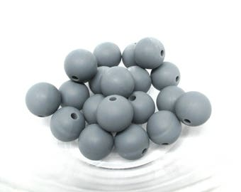 10 12mm - dark grey Silicone beads