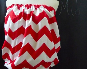 Thick waist band - Balloon Tube TOP - Riley Blake - Red and White Chevron - Made in ANY Size - Boutique Mia