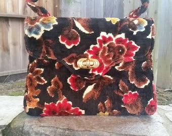 Tapestry Purse Tapestry Handbag Floral Tapestry Handbag Carpet Bag Chenille Tapestry Handbag 1960s Handbag 60s Handbag 1960s Movie Prop