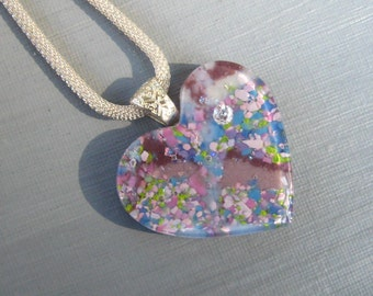 Flowery Heart Pendant, Fused Glass Heart Pendant,  Stone Look Glass Pendant - Blue and Purple Heart Pendant