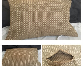 1 piece beige olive light brown diamond shape embroidered thick fabric pillow case 30W x 22L.