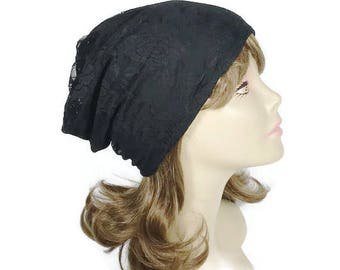 FREE SHIPPING/Custom Size/Lining Black Lace Slouchy Hat Lined for All Seasons Reversible Black Lace Slouchy Beanie Black Lace Chemo Turban