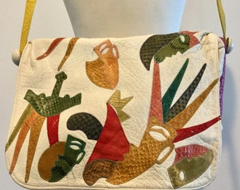 Funky Vintage CARLOS FALCHI White W/Colorful Snake Skin Tribal Patches Large Shoulder Bag