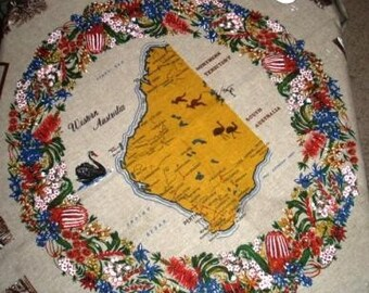 vintage tablecloth ... AUSTRALIA Souvenir RETRO RAGE TABLECLOTH ...