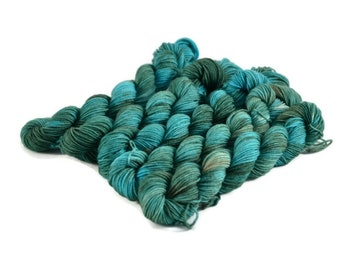 Mini Skeins, Hand Dyed Yarn, Sock Weight, Superwash Merino Wool Yarn, Knitting Yarn, Sock Yarn, Multi-colored, green, blue - Loch Ness