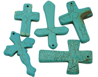 Howlite Cross Mix - Set of 5 (4 styles)