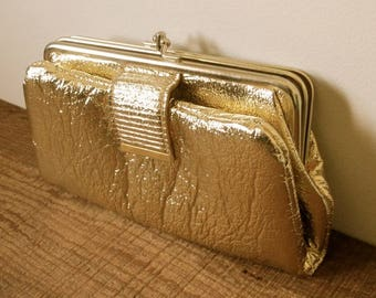 Vintage Clutch Gold Foil Fabric Purse Mod 1960s Gold Clutch Purse