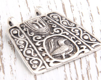 Antique Silver Plated Ethnic/Tribal Pendant, 1 pc // SP-242