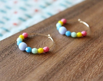 gold filled bright multi czech glass hoop earring