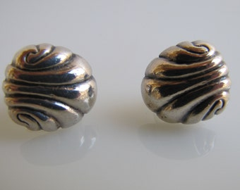 William Spratling Repousee Shell Earrings. Early Old Taxco Sterling Silver. Screw Backs. Mexican Silver Jewelry  C1940
