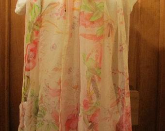 Silk Sheer Pink Floral Scarf