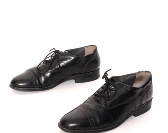 VINTAGE mens size 8.5 OXFORD black leather 80's SPECTATOR lace up dress shoes