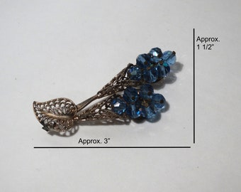 Vintage Pin - Brooch - Sparkly Blue Beads - Gold Toned Setting