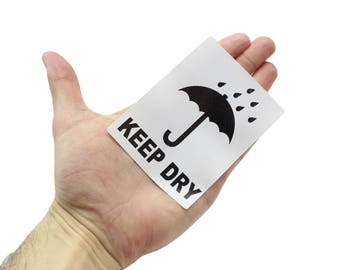 Keep Dry mailing / shipping labels. 100mm x 75mm White Label, Black print. Use on boxes, packets, packages.