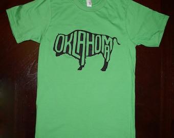 Oklahoma Buffalo T-Shirt - Green (unisex size small)