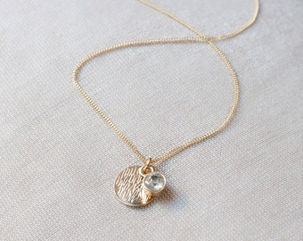 Gold Filled Chain Necklace, Pendant Necklace, Charm Necklace, Gold Filled Necklace Rhinestone Pendant, Delicate Fine Chain, Dainty Necklace