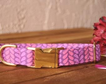 Purple and Pink Petals Dog Collar, Preppy Pink, Female Pet, Gold Metal Hardware, Designer