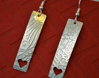 Sterling silver textured earrings with hand sawn hearts
