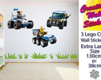 Lego City Wall Stickers 3 separate Kids Bedroom large wall decals.