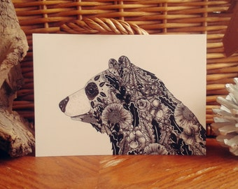 Illustrated Bear Postcard // Bear drawing // Bear Print // Woodland Animal Art // Black and White Botanical Print