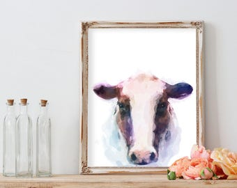 WATERCOLOR COW PRINT, Wall Art Printable Download, Gift, Wall Decor, Farm, Nursery Print, Instant Download