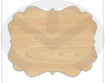 Plaque - 01587- Style 10, Unfinished Wood Laser Cutout, Ready to Paint, Wreath Accent, Sign Blank
