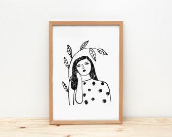 Woman and branch B&W - print - 8 x 11.5 - A4 - by Depeapa