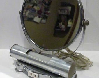 Vintage 1950's lighted makeup mirror vanity magnifying bathroom electric outlet mid century modern retro decorative home decor round