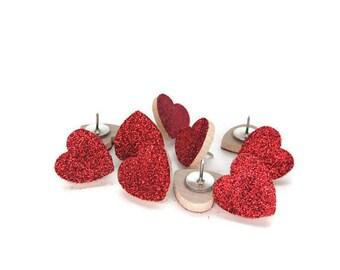 Red Glitter Heart Thumb Tacks. Heart Push Pins. Red Hearts. Memo Board Pins. Dorm Room Decor. Glitter Push Pins. Glitter Thumb Tacks.