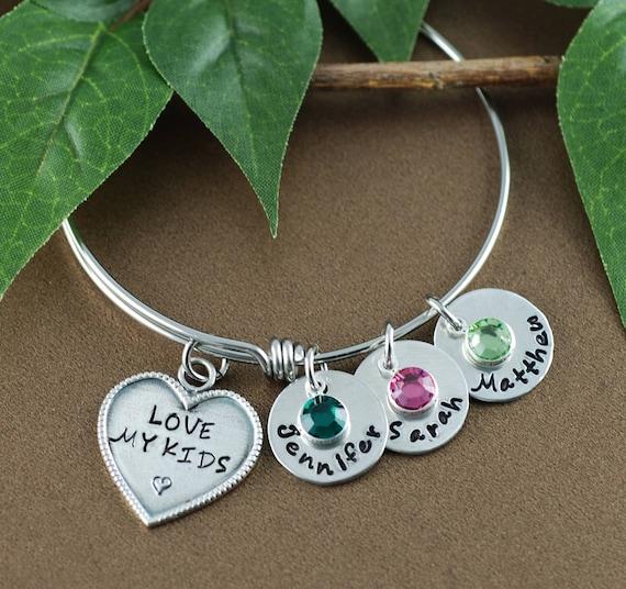 Love my Kids Bangle Bracelet, Personalized Mom Bracelet, Silver Charm Bracelet, Love my Boys Bangle, Love Girls Bangle, Mommy Bracelet