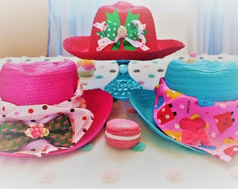 Sweet Lamb Clothing 'Pink Summer Modified Cowgirl Children's Straw Hat' for Kids, boys, girls