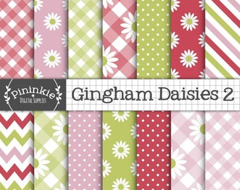 Pink and Green Summer Digital Paper, Daisies Floral Digital Paper Commercial Use, Digital Download, Digital Paper Floral