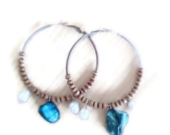 Boho stainless steel hoops/hippie hoops/hippie hoop earrings/boho hoop earrings/hoop earrings/bohemian earrings/boho blue stone/hippie hoops