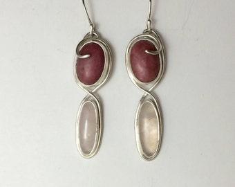 Rhodochrosite, Rose Quartz  and Sterling Silver Earrings