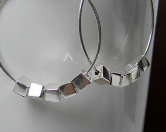25th anniversary Handmade Sterling Silver Square Cube Hoop Earrings; Anniversary Gift for Her; Under 50 Dollars; Workplace Jewelry
