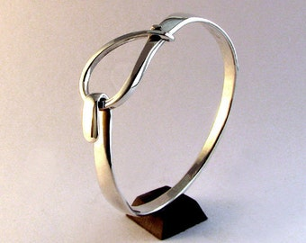 Sterling Silver Bracelet, Small Loop Latch Cuff
