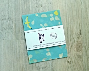 Zero Waste Beeswax Bio Cotton Food Wrap Japanese Garden in Blue  / Beeswax Cloth cca 10 x 10 inch (26x26cm) / Food Wrap