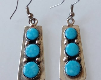 Vintage Sterling Silver Turquoise Dangle Earrings Stamped 925 Philippines