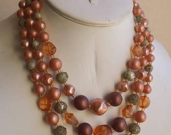 Vintage brown and green strands glass beads necklace multi strands Made in Japan