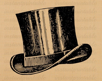 Top hat digital image, instant download, printable iron on fabric transfer, downloadable images, clip art, scrapbooking - no. 206