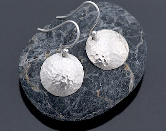Small Round Silver Earrings, Sterling Silver Hammered Domed Earrings, Round Hammered Earrings, Silver Jewellery, Silver Jewelry Gift for Her