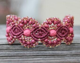 Micro-Macrame Beaded Cuff Bracelet - Wine