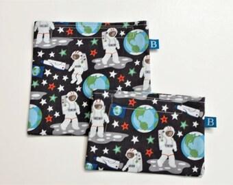 Wiederverwendbar Eco-Friendly Set Snack und Sandwich Taschen Astronaut Stoff