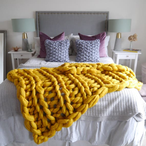 Mustard Yellow Chunky knit blanket yellow giant knit blanket