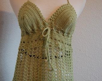 Crochet Halter Textured Lime Pistachio Green Cotton Bamboo Blend Size Small/Medium