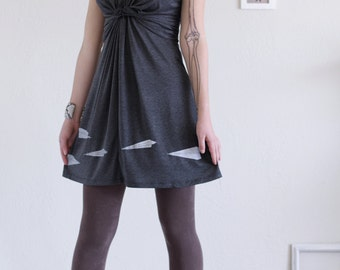 Unique gifts for her . Women soft knit dress . Grey Jersey Dress . V-neck Dress . Casual Day Dress . Summer dress - Paper Airplanes