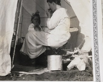 Time to Eat Vintage Photo Tent Camping in Colorado Springs Mother & Daughter