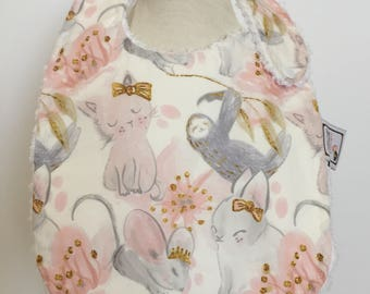 custom baby bib ~ pink and gray sloth ~ chic couture ~ baby accessories ~ custom made baby bib from lillybelle designs