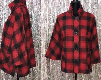 90's Wool Coldwater Creek Red & Black  Poncho Shawl (M)